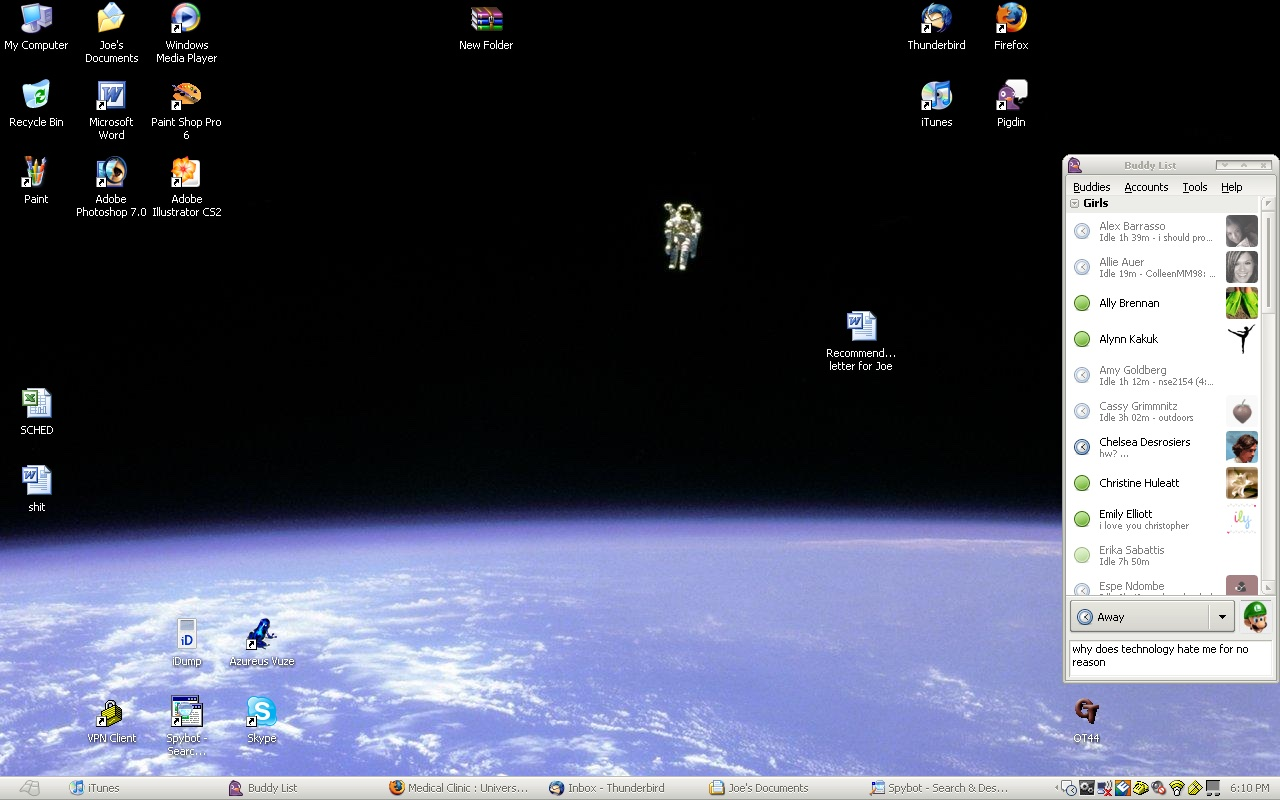 Screenshot of a Windows desktop, showing AOL Instant Messanger at the far right