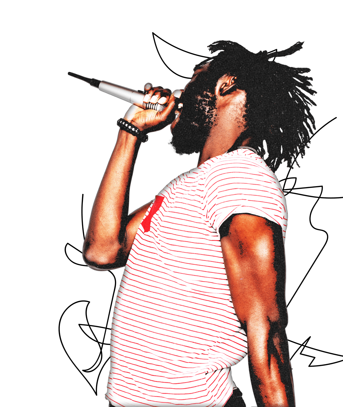 Black artist performing energetically with microphone in-hand.