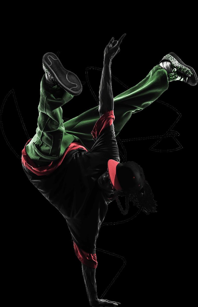 Black dancer break dancing.