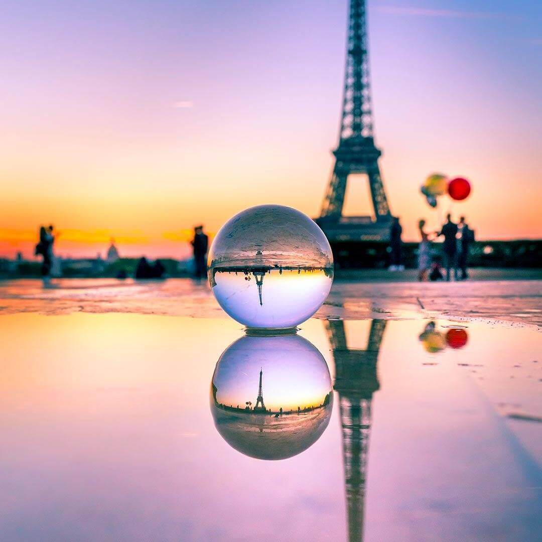 Lensball in front of Eiffel Tower