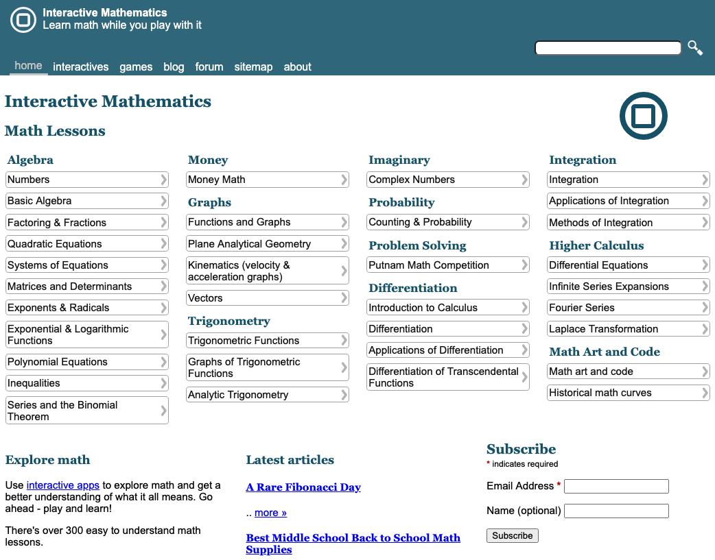 Interactive Mathematics homepage