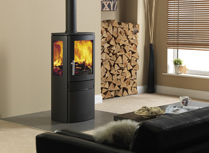NEO3C Eco wood-burning EDFRA-exempt stove is a contemporary design with the legal ability of burning wood in a controlled environment
