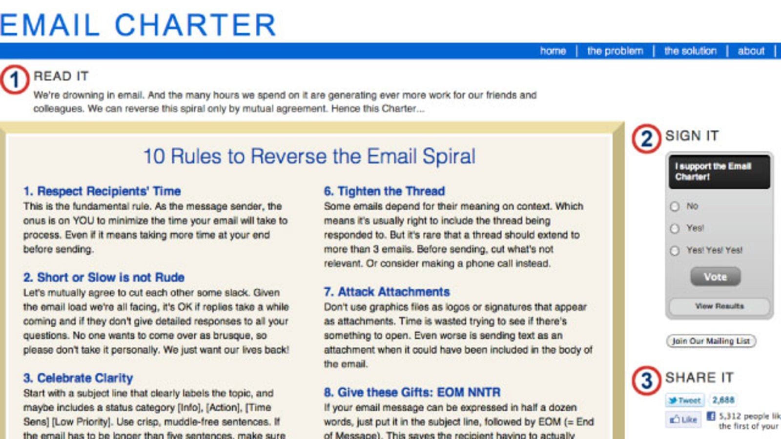 Email Charter Screenshot