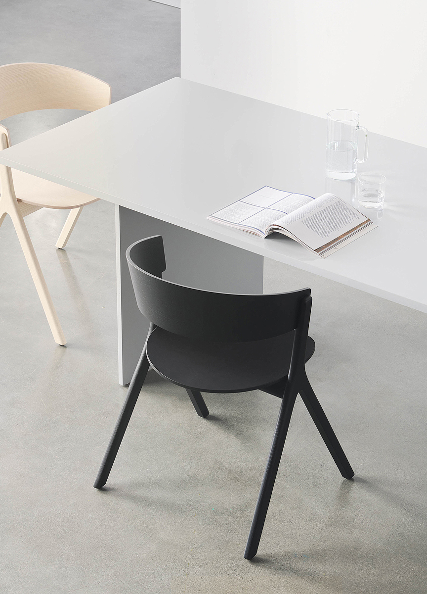 EDITS Circus wood chair in Black Ash with Essentials Table