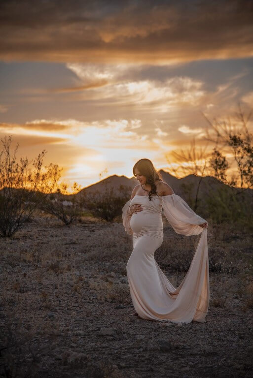 Picture of pregnant mother in beautiful pink gown with sunset nature background
