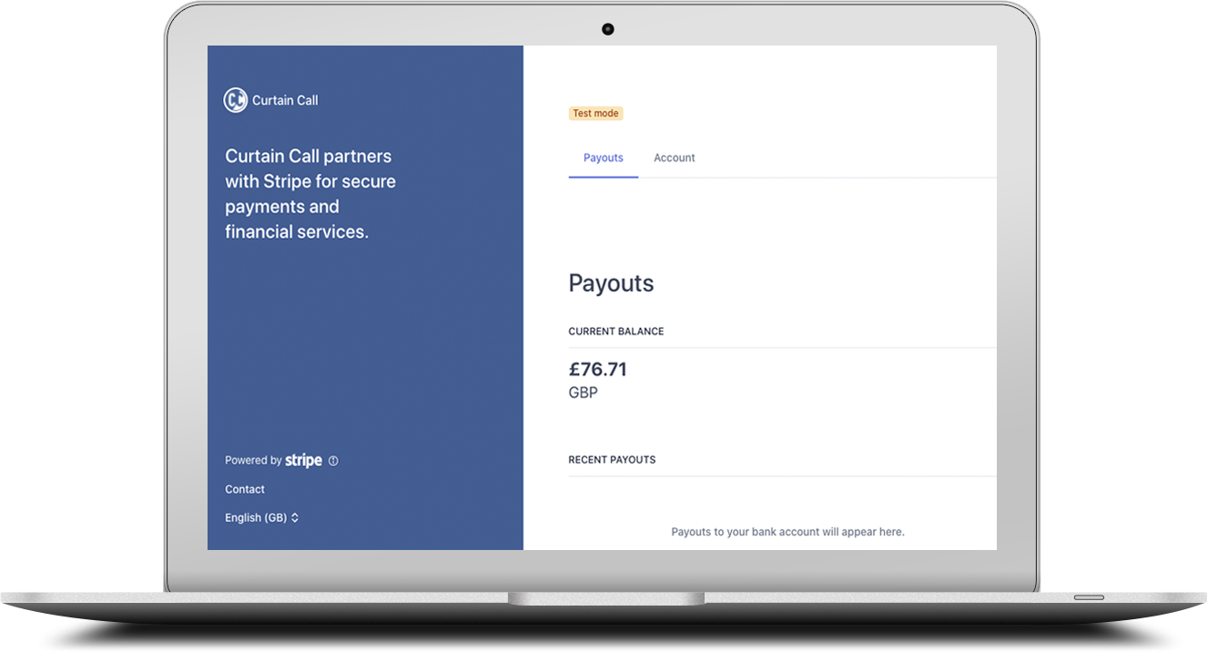 Laptop image showing Stripe payment method in the screen