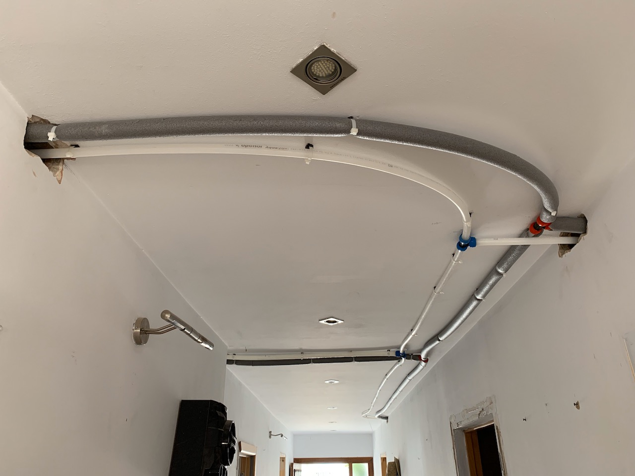 New to us: wiring through the ceilings.