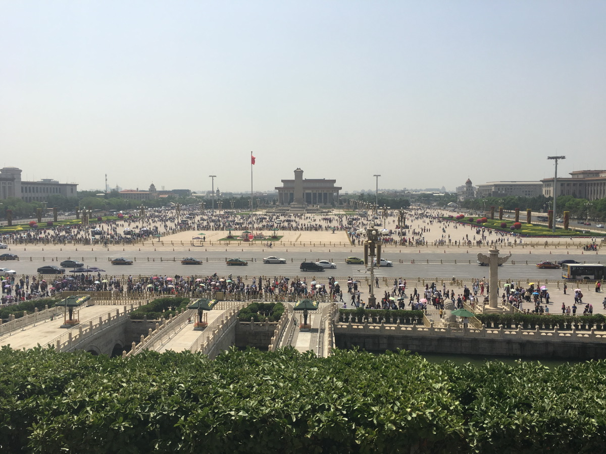 View towards Tiananmen Square. In the distance, Mao's mausoleum.