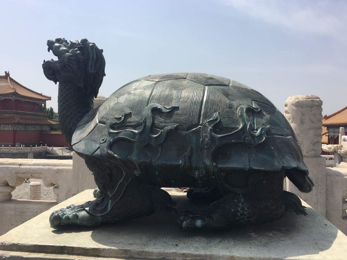 The crane and the tortoise are symbols of good luck and longevity. These bronze figures are stunning.
