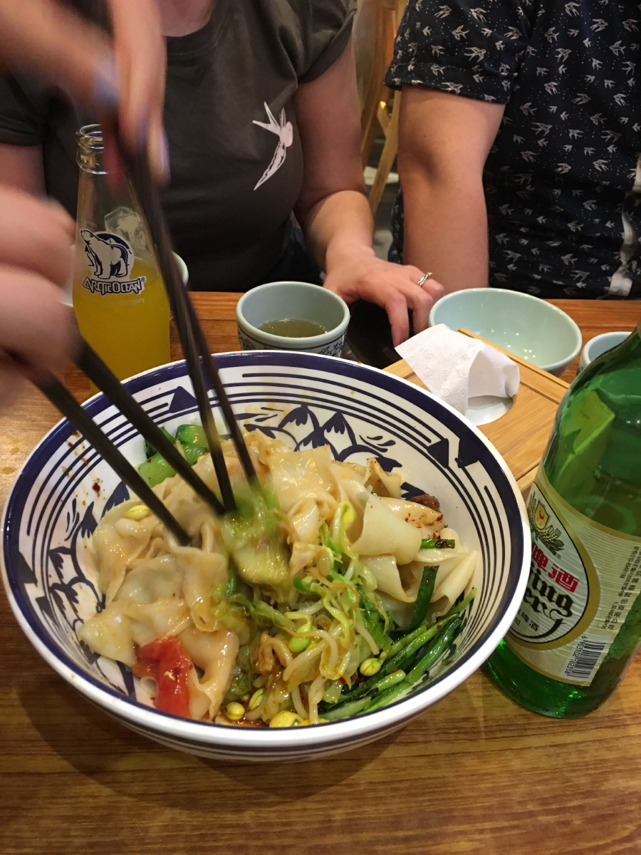 Third stop: noodles. Probably the most common dish in Beijing. This one was with chilli oil, vegetables and chicken. Excellent tastes.