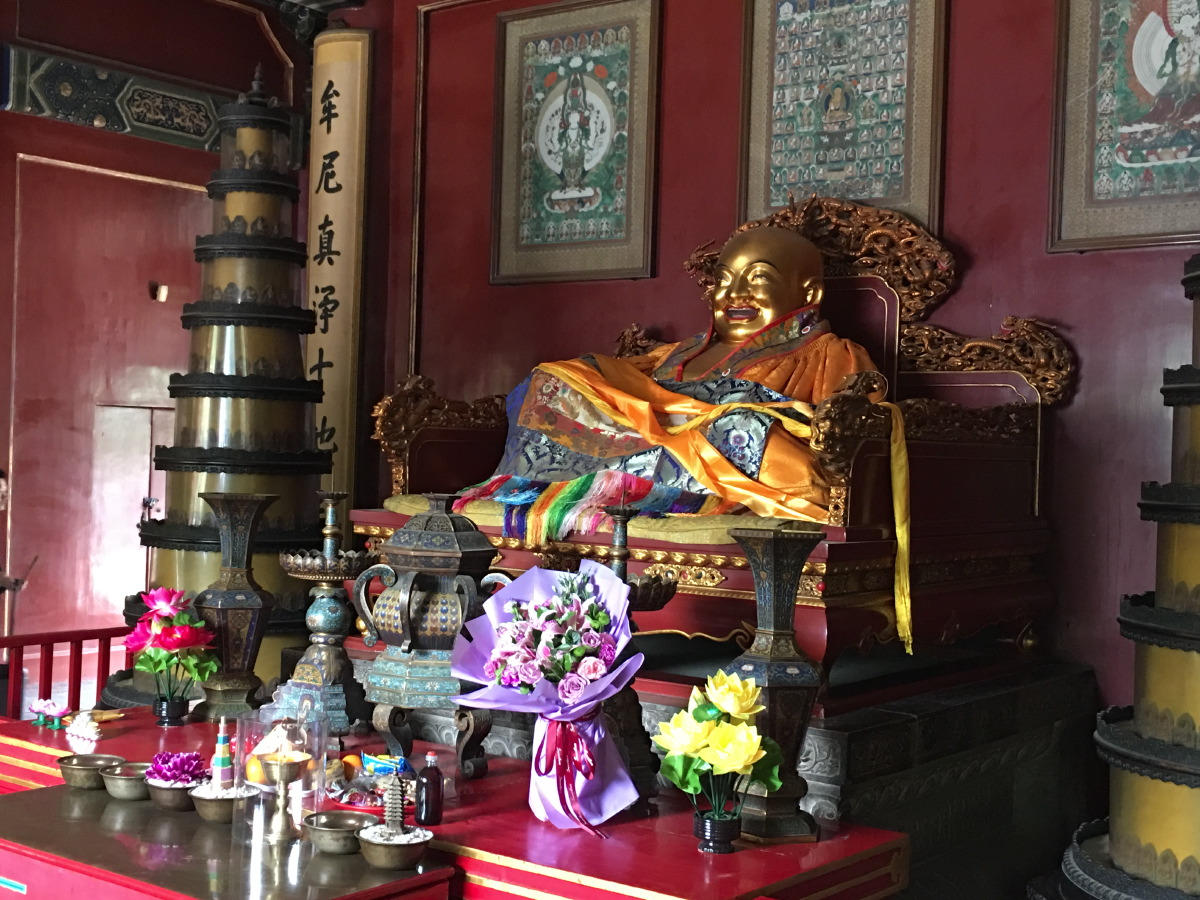 Milefo (laughing Buddha) in the Hall of the Heavenly Kings.