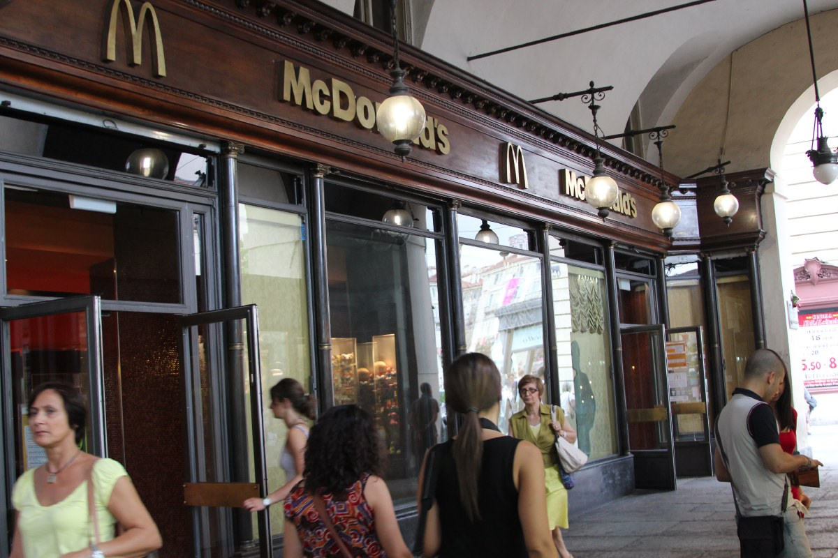 Even McDonalds has to adapt to the style of the city.