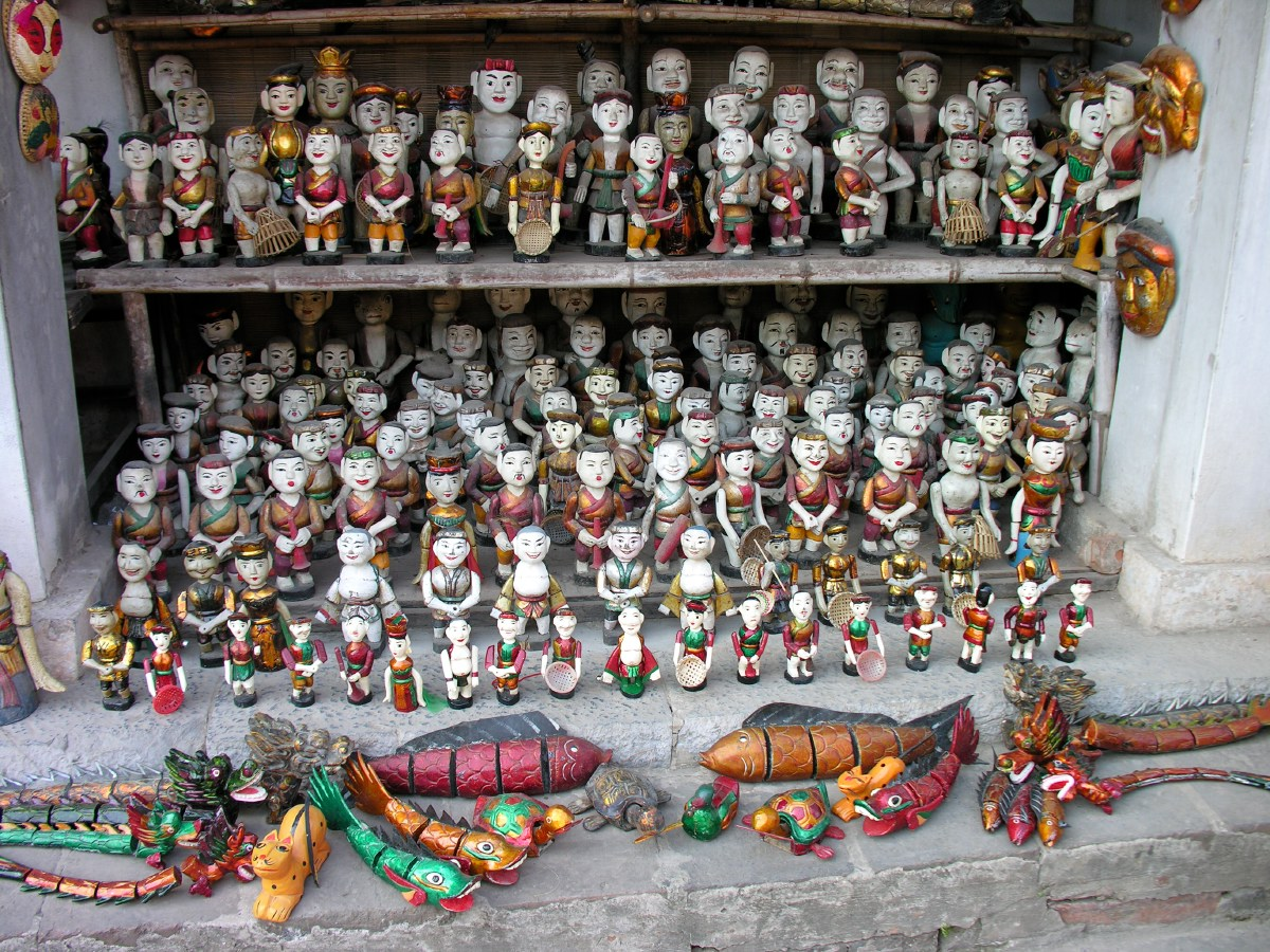 Hanoi is famous for it's old water puppet theatre. These are replica dolls for tourists.