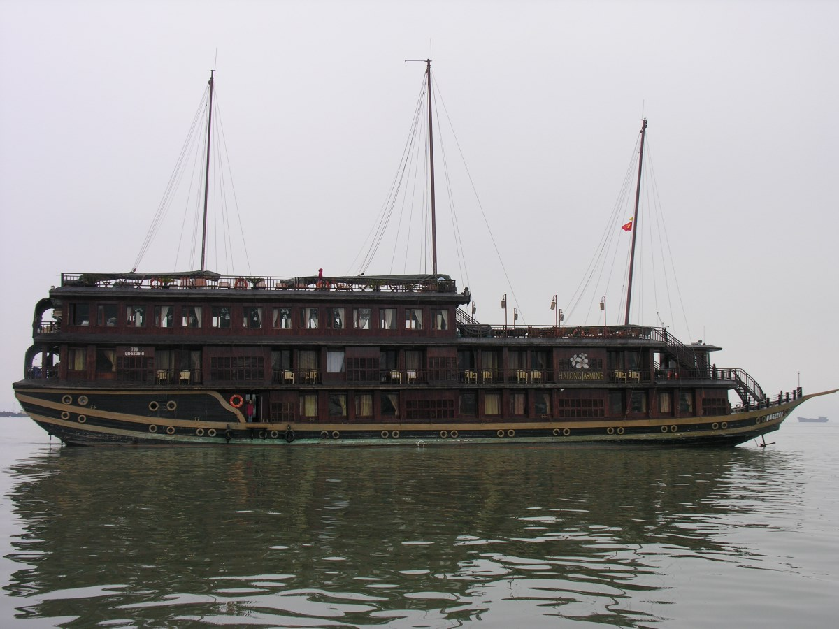 We embark on an old wooden luxury cruise ship