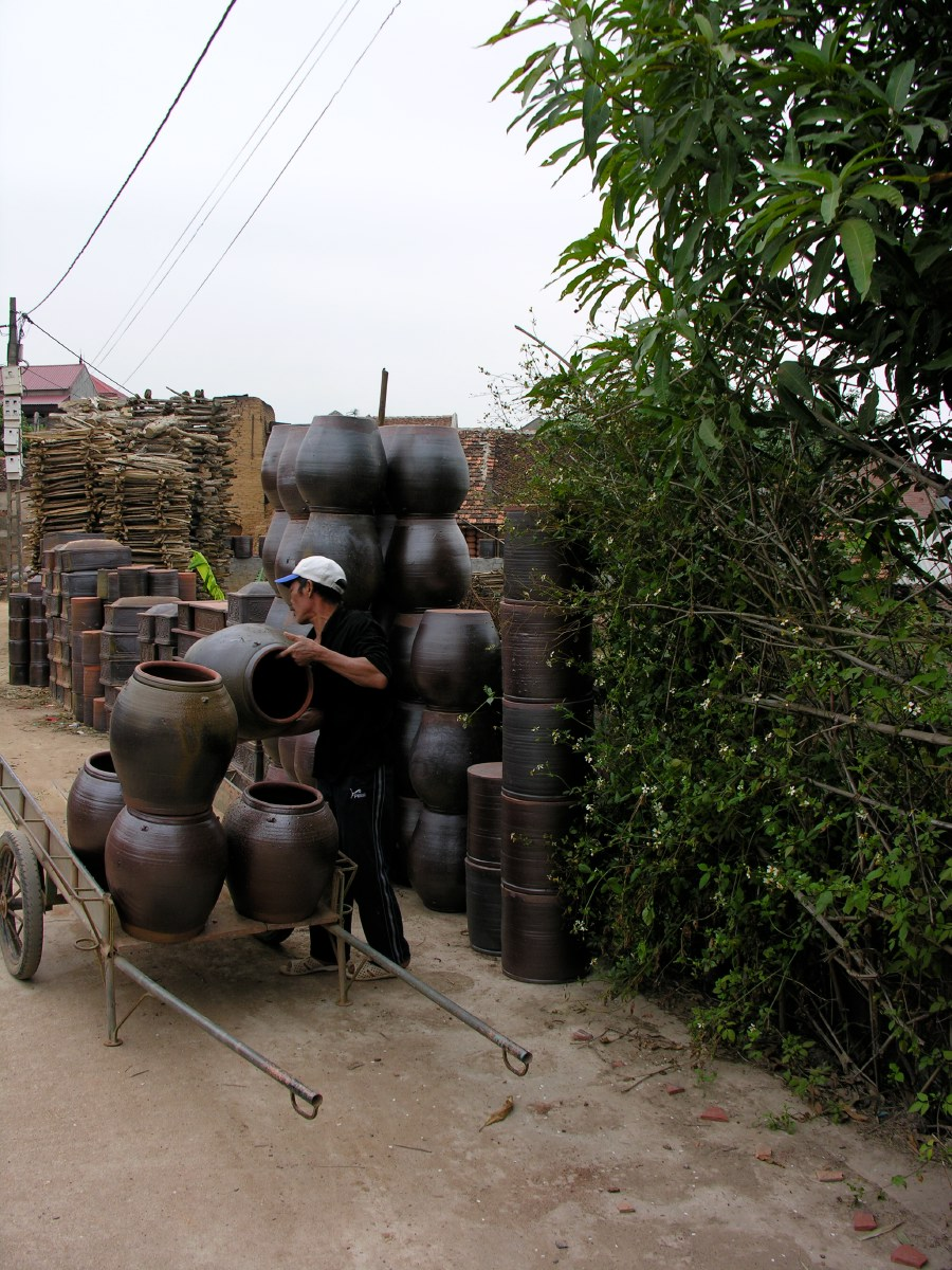 Bat Trang, about 15 kilometers east of Hanoi is famous for its handmade pottery