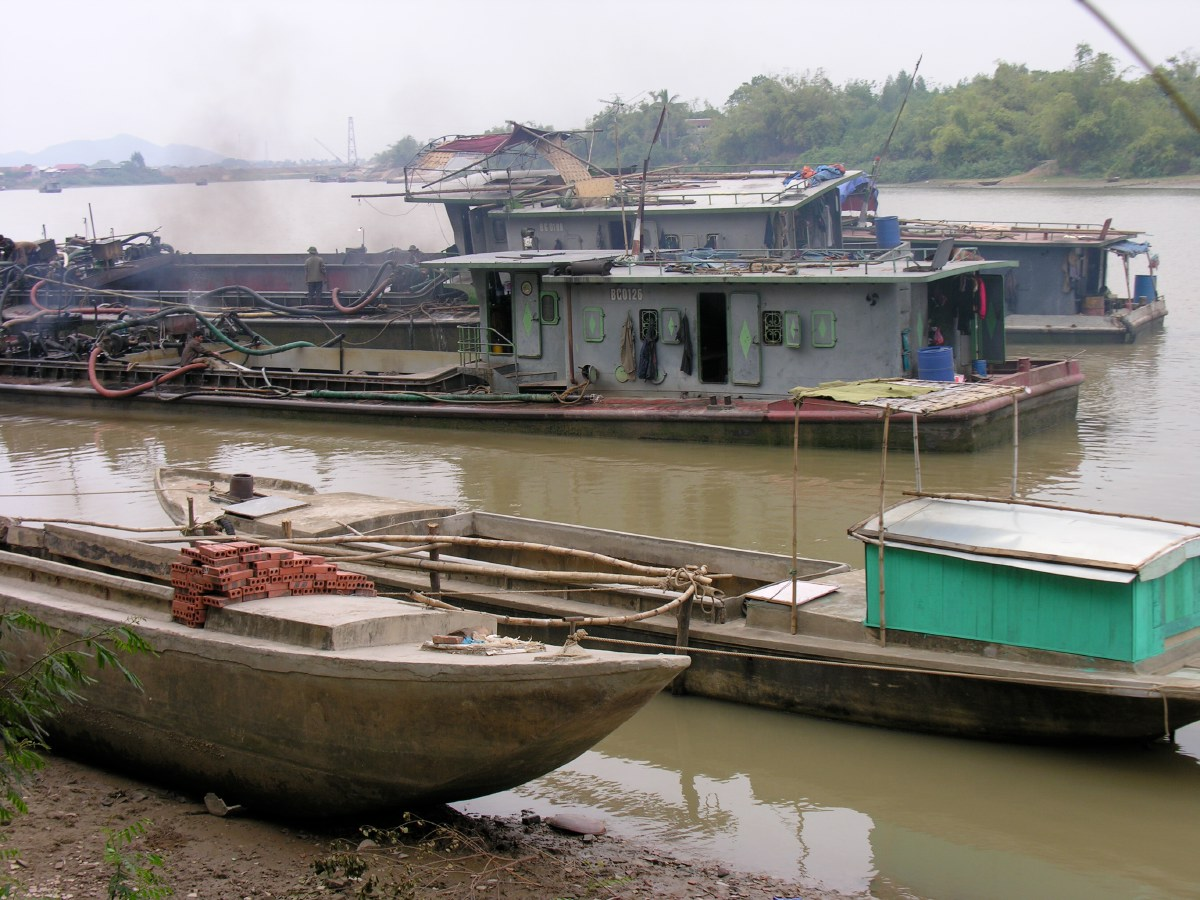 These noisy boats dig up the clay from the bottom of the river and bring it ashore