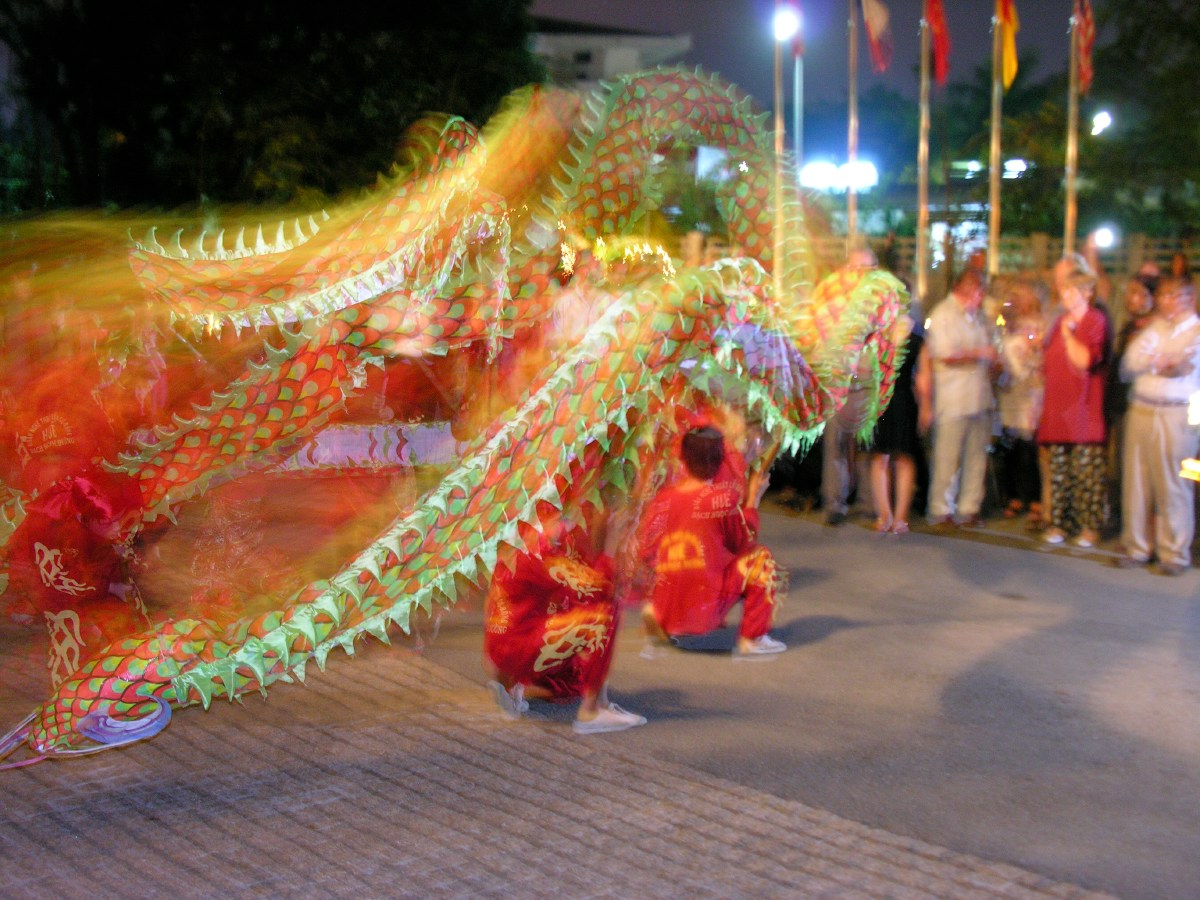 New Years Eve starts with a dragon dance in front of the hotel