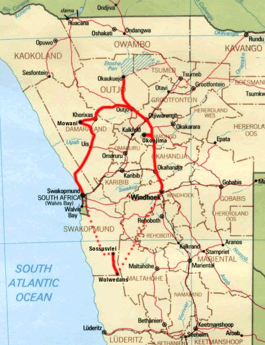 Map of our tour of Namibia. The dotted lines are flights in a small plane