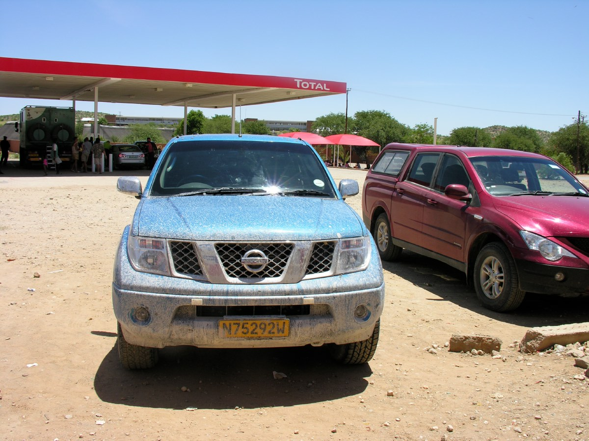 Driving through the muddy puddles in Etosha gave our Nissan 4x4 the right shabby macho look it should have, don't you think?
