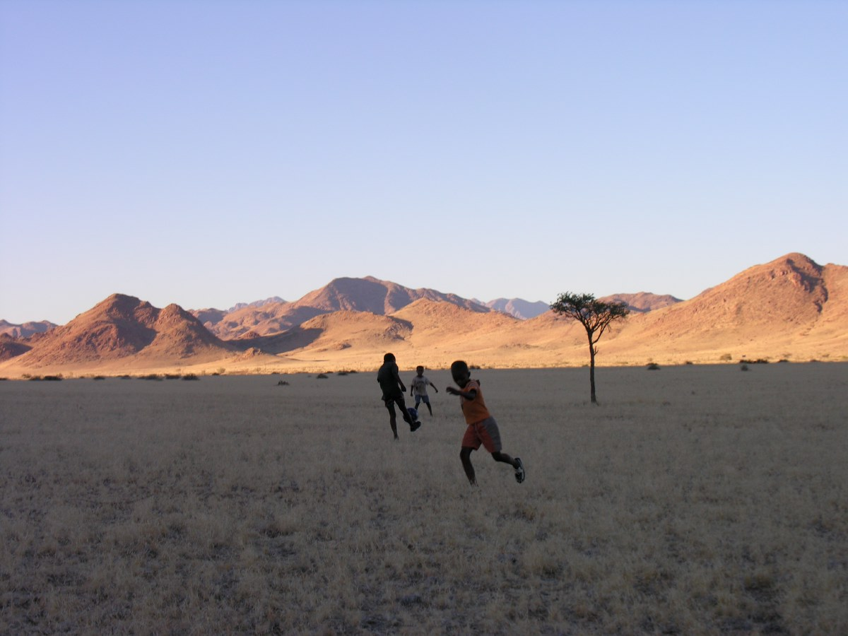 Namibia soccer talent playing in front of our homestead hut