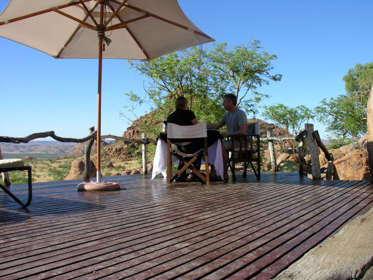 The next morning the Mowani staff set up a special breakfast table for us at the edge of the pool overlooking the Damaraland valley.