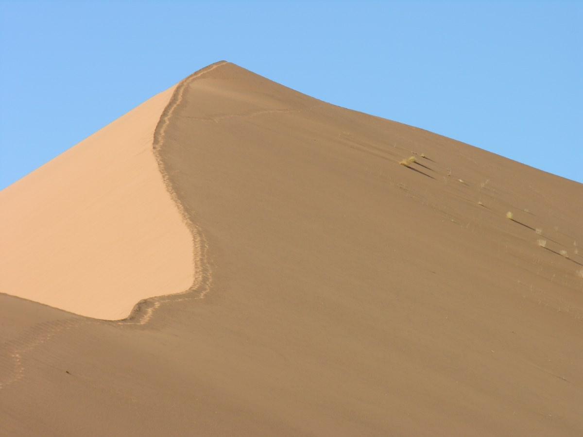 The top of this highest sand dune in the Sossusvlei is 360 m high