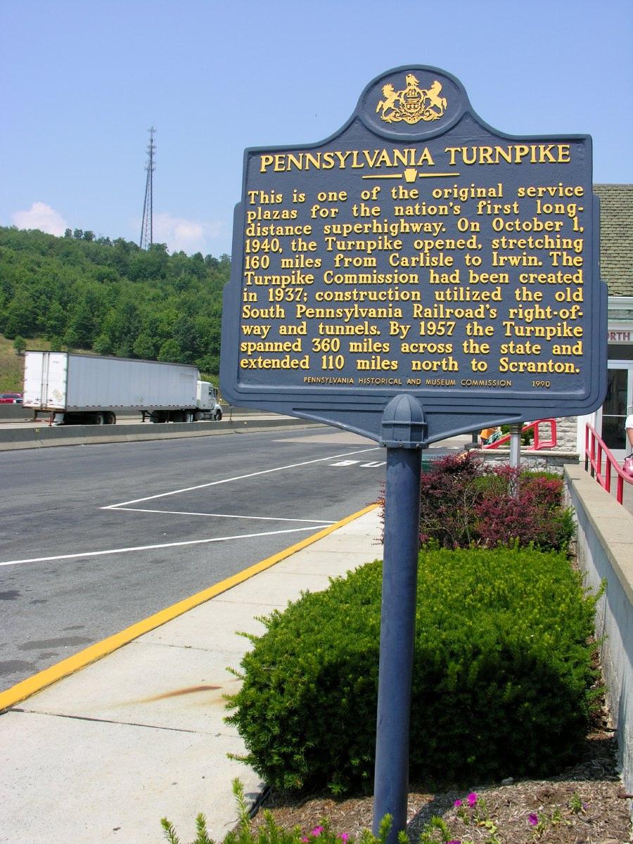 Historical marker for the Pennsylvania turnpike