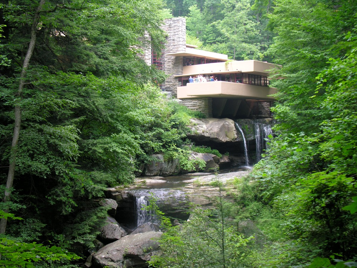 The Kaufmanns' love for Bear Run's rushing waterfalls inspired Wright to imagine a residence cantilevered directly over them