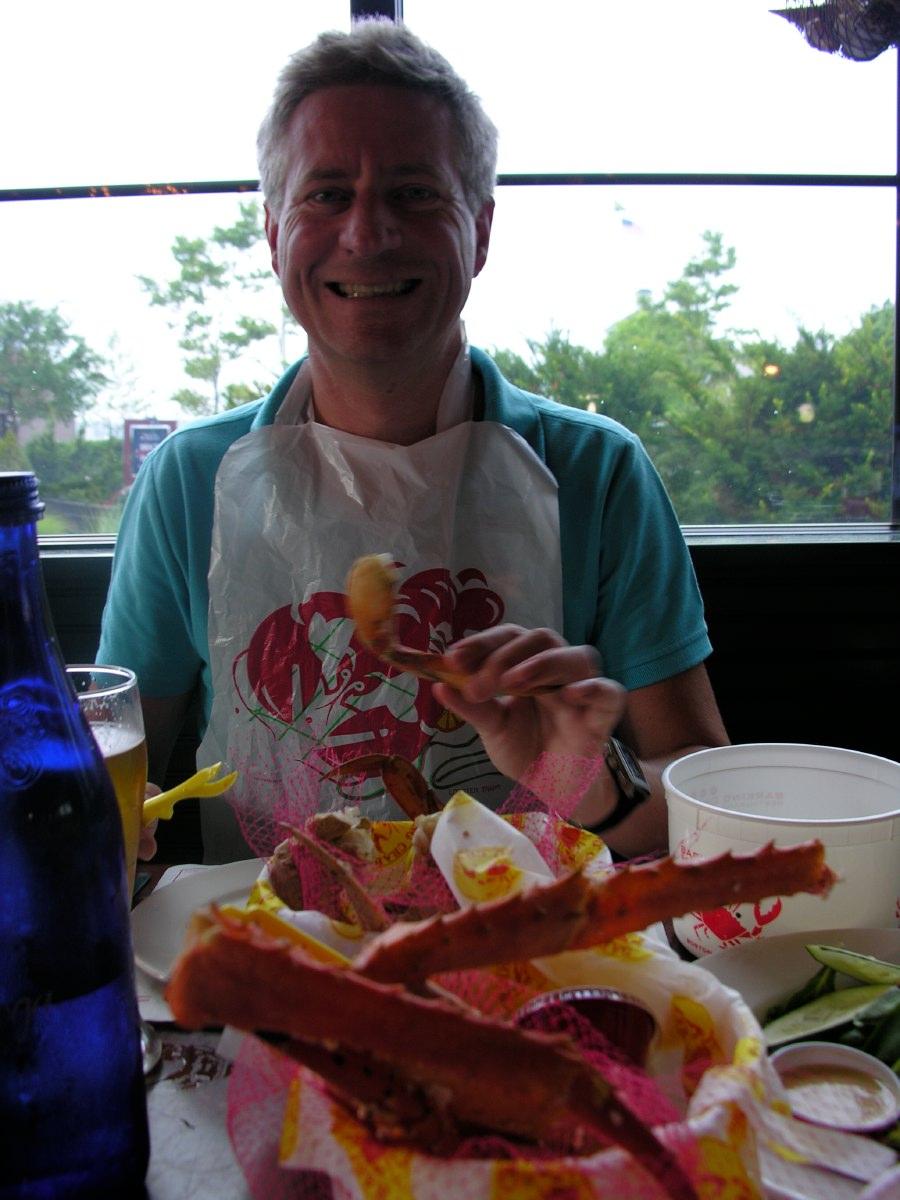 Lobster eating feast in Newport, Rhode Island
