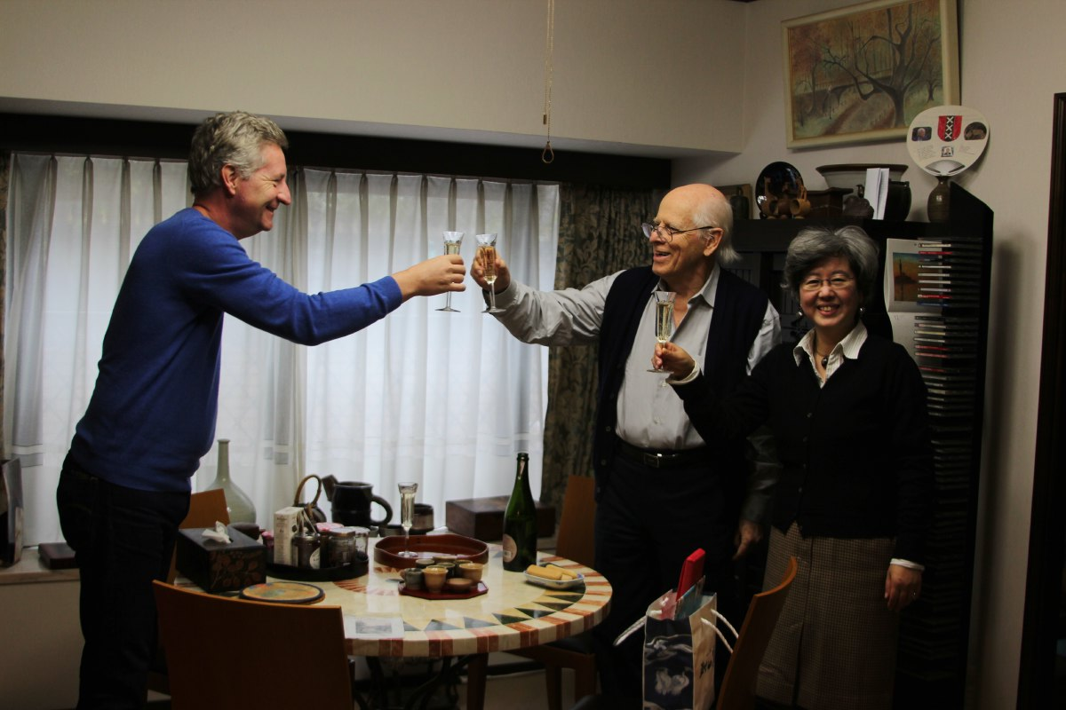Birthday boy toasting with Hans & Hiromi