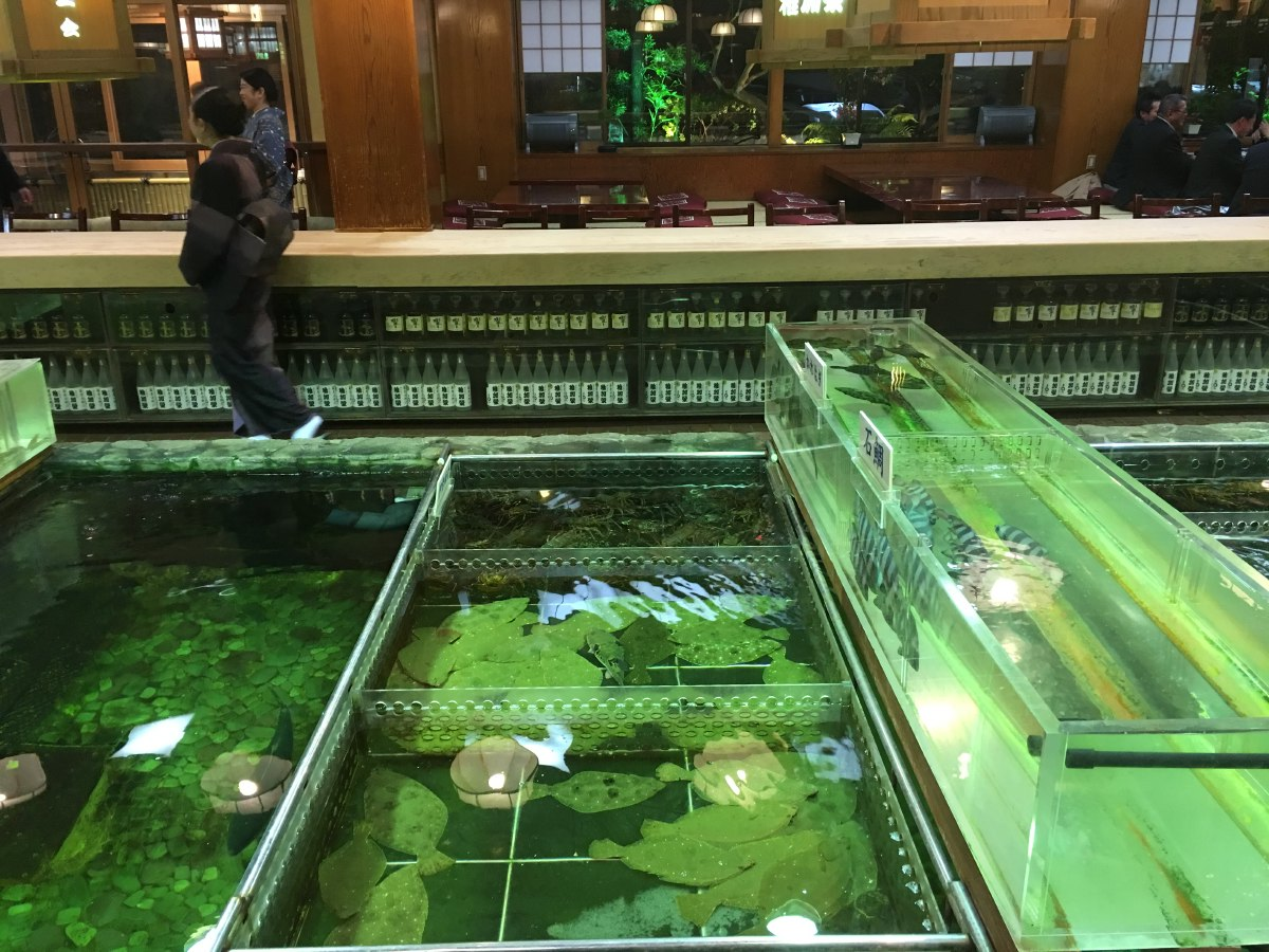 Large fish tanks in the middle of the restaurant set the scene