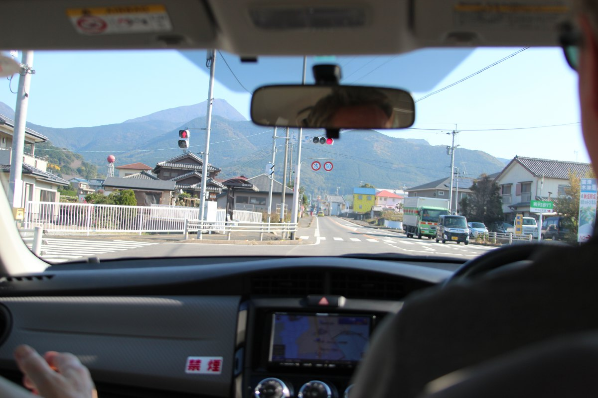 Driving to Unzen, the name of the region in the center of the Shimabara-hanto Peninsula which belongs to the volcanic region of Mount Unzen-dake.