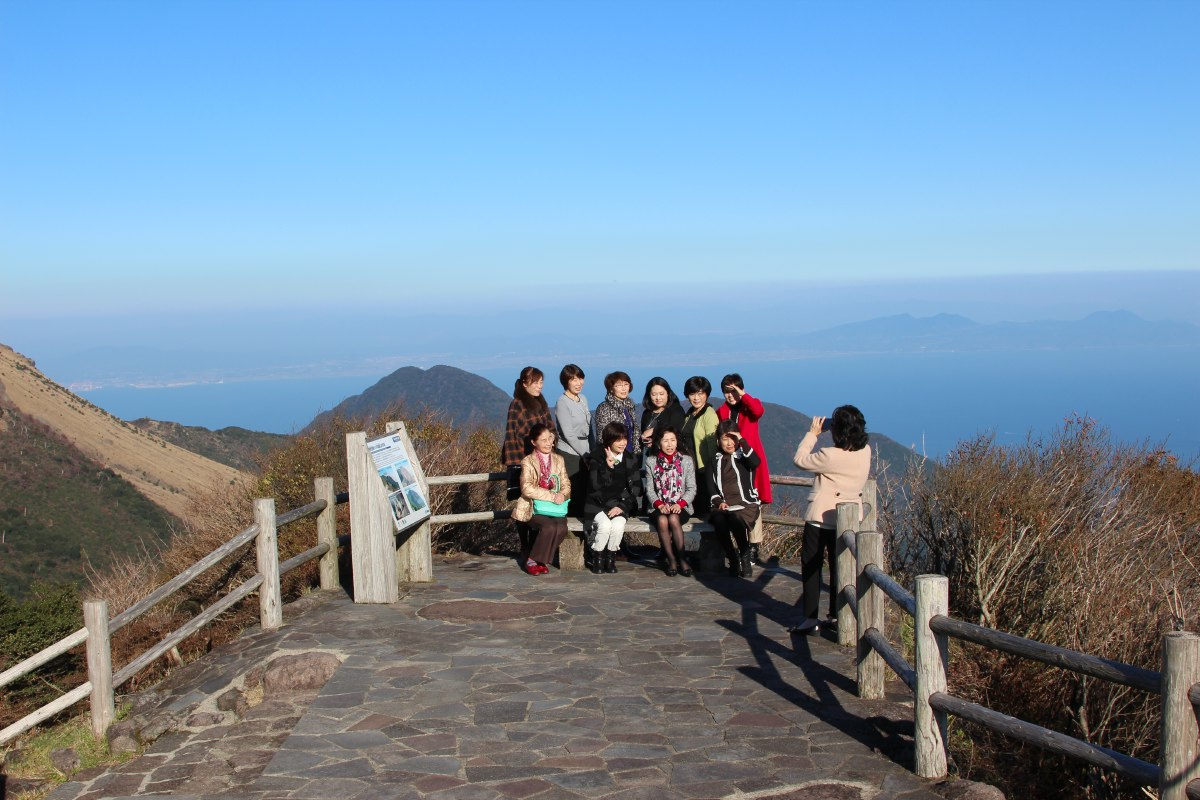 Up Mount Unzen-dake. Smile ladies, smile!