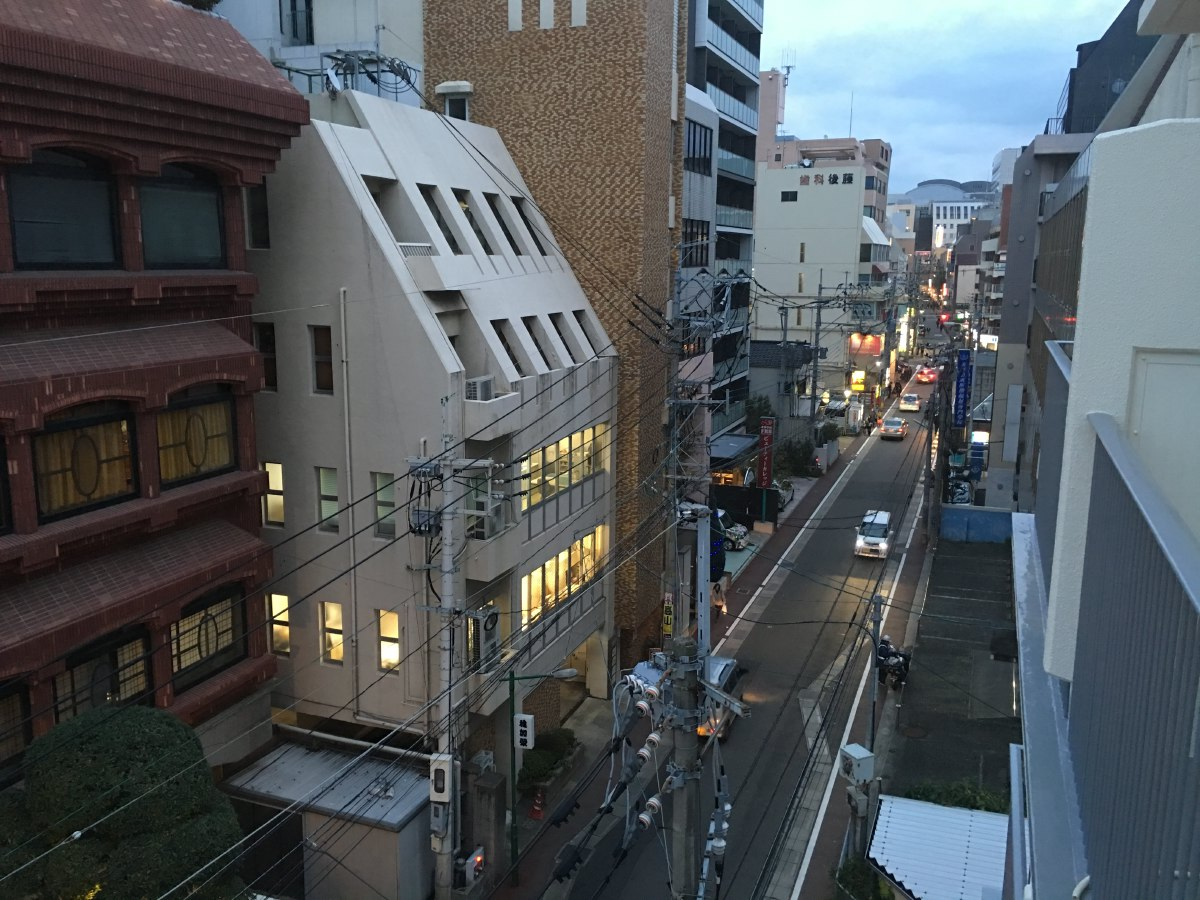 Evening view from our AirBNB apartment window in Fukuoka
