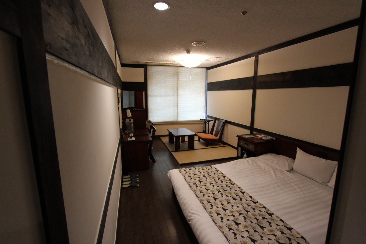 Small, cozy, typically Japanese hotel room.