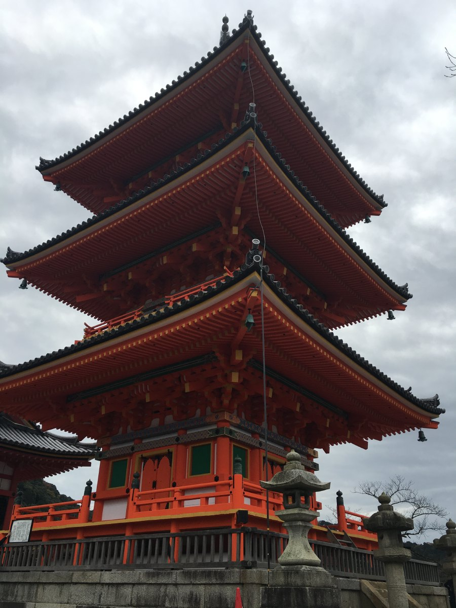"""Kiyomizu-dera (literally meaning """"Pure Water Temple"""") is one of the most celebrated temples of Japan. It was founded in 780 on the site of the Otowa Waterfall in the wooded hills east of Kyoto."""