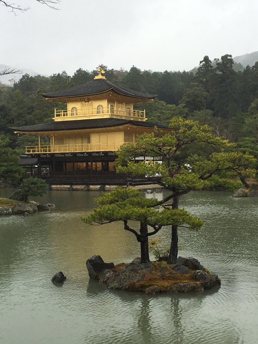 Kinkaku-ji, the golden temple. Magnificent even in dismal weather. Too bad many more people wanted to see this place.