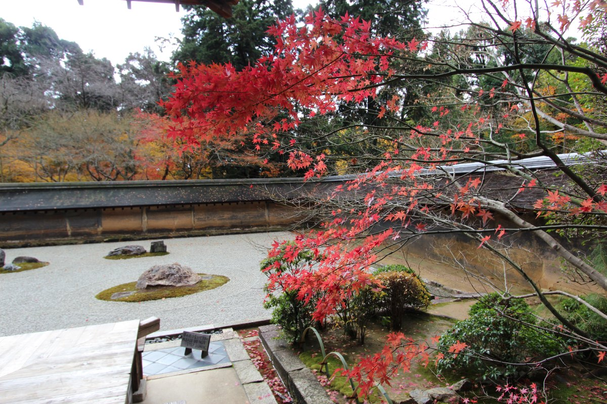 Ryoan-ji has a very famous rock garden. A prime example of ancient kare-sansui (dry landscape). It dates back to 1450 AD.