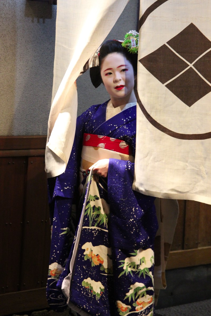 This is a geisha. They are hard to spot on the streets.