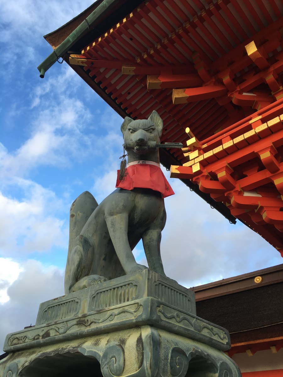 The foxes are supposedly the messengers of Inari.