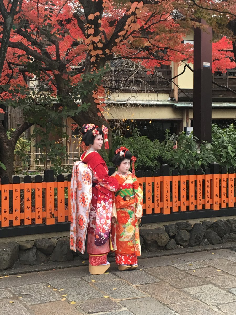 Don't know what they are. The girl can't be a Maiko (apprentice geisha) because they are not admitted before they are 15 years old. Pretty picture though...