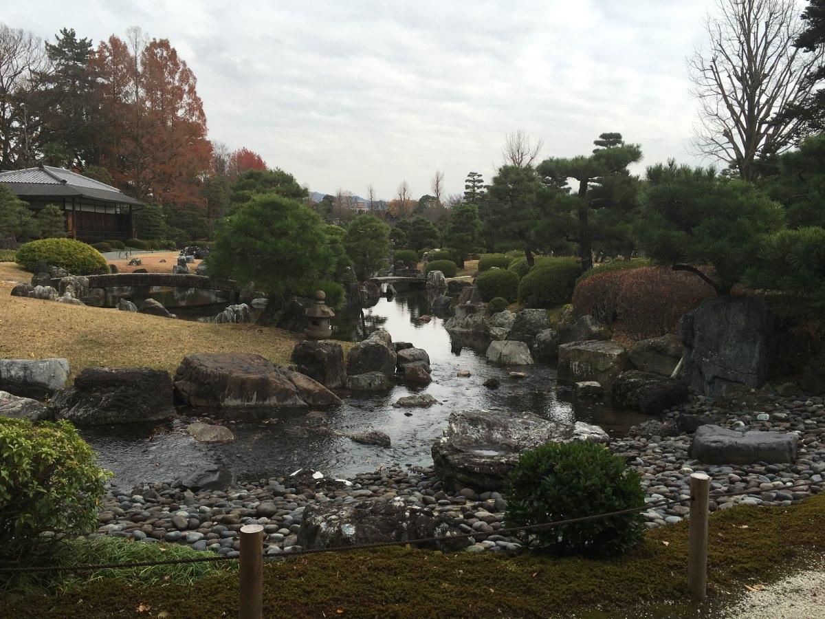 The Seiryū-en tea garden of Nijo Castle, where we had tea with this view