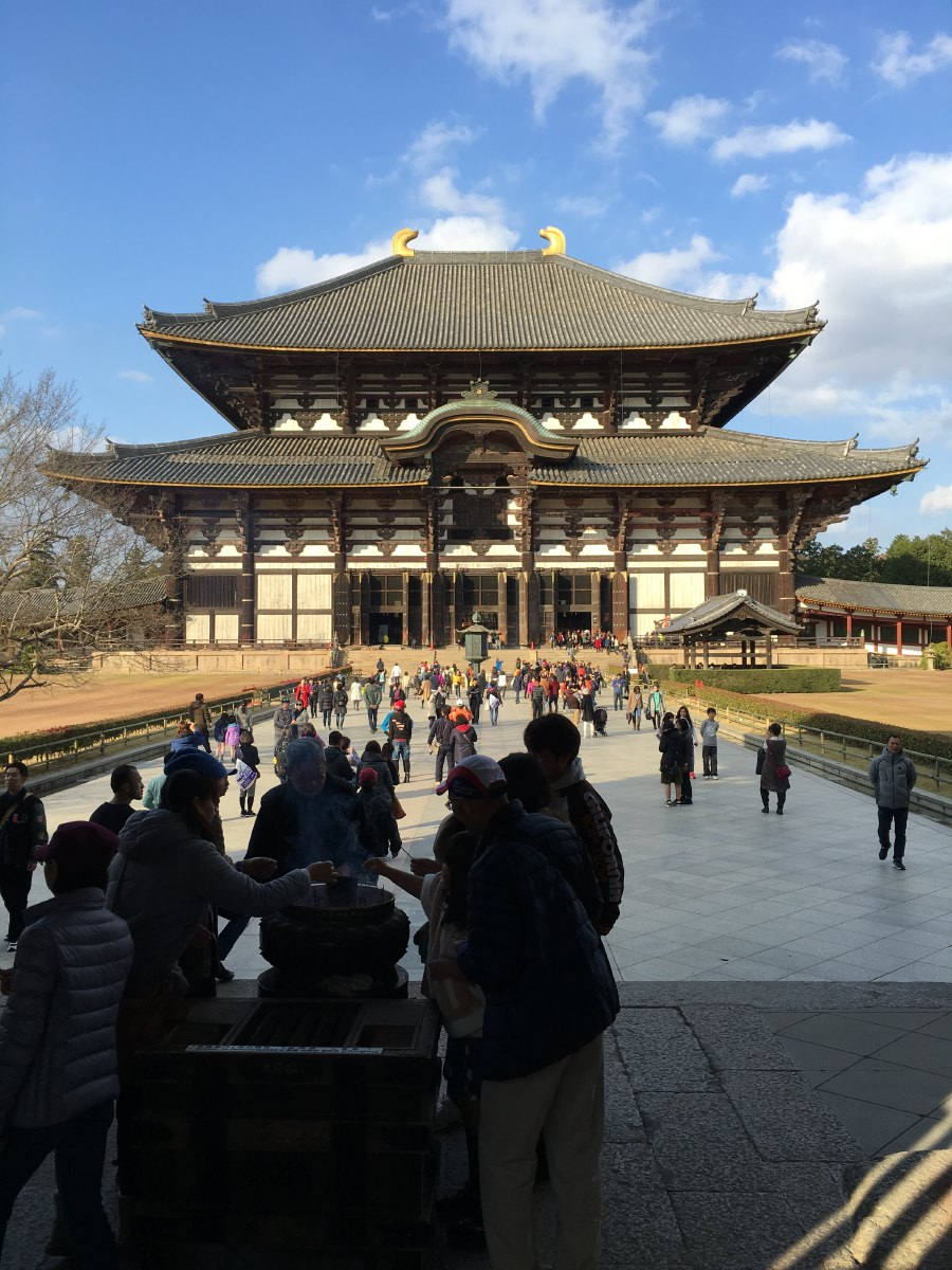 Todai-ji. Founded in 745 by emperor Shomu. This is the world's largest wooden building. It took 15 years to build.