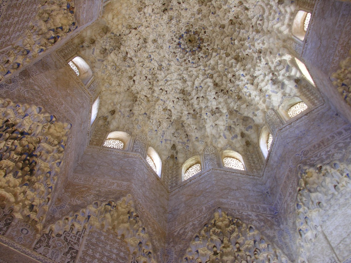"""Honeycomb, stalactite, or """"mocárabe"""" vaulting in the Hall of the Abencerraje"""