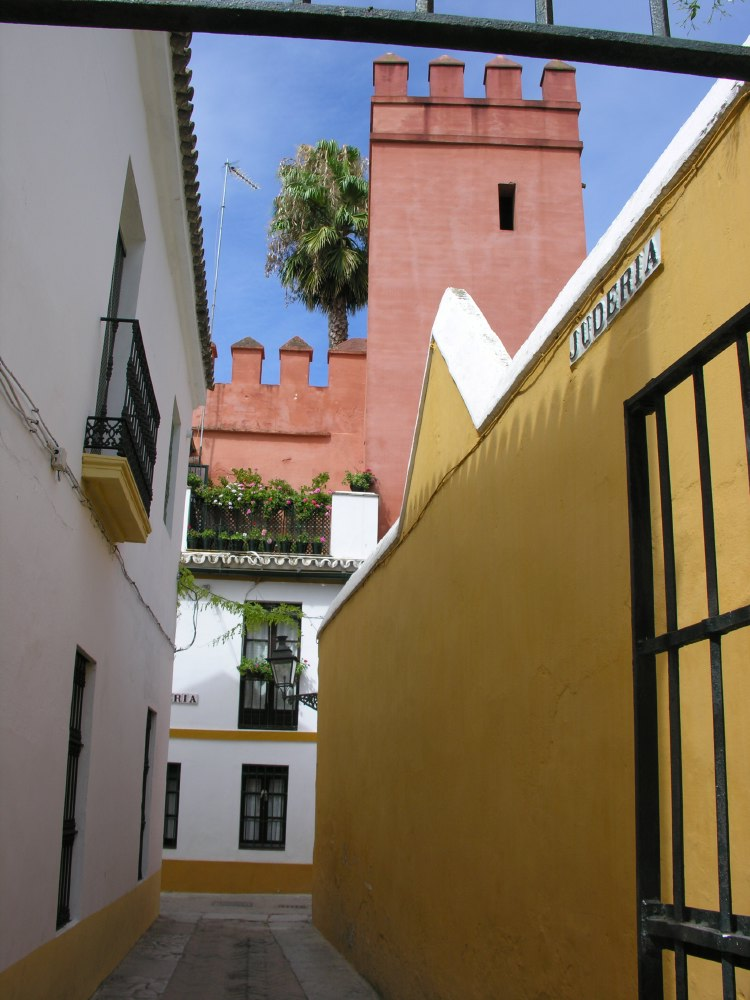 The Juderia is the old quarter around the Real Alcázar and the cathedral in the center of Sevilla.