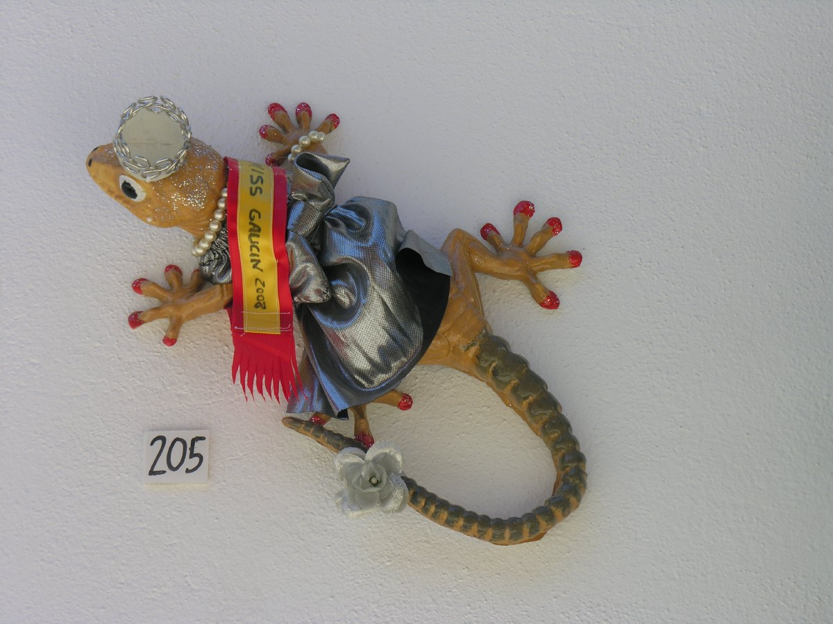Results of an apparent competition between inhabitants to create the most striking lizard display on the walls of your home. They were all over the place and this was the winner.