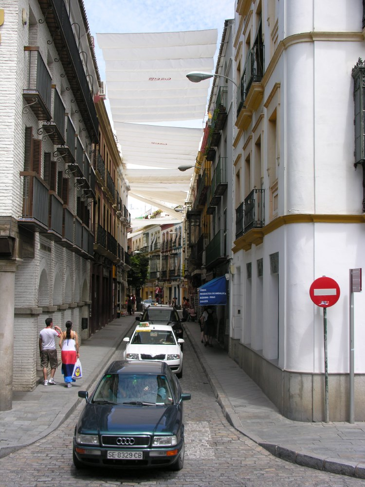 One of the pretty streets in downtown Sevilla, covered from the sun and the heat for our shopping pleasure.