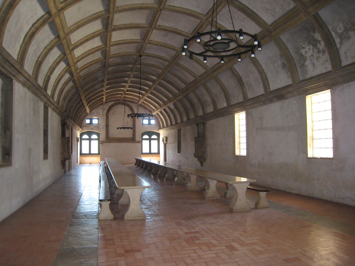 The elongated dining hall where the knight-monks ate together.