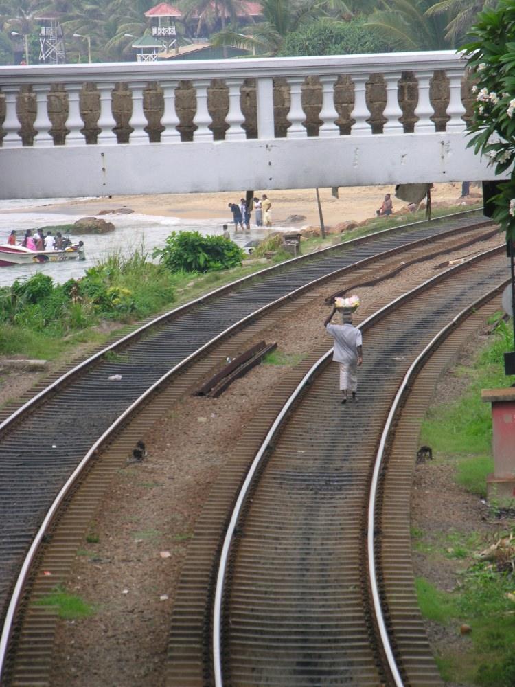 Walking along the railroad tracks