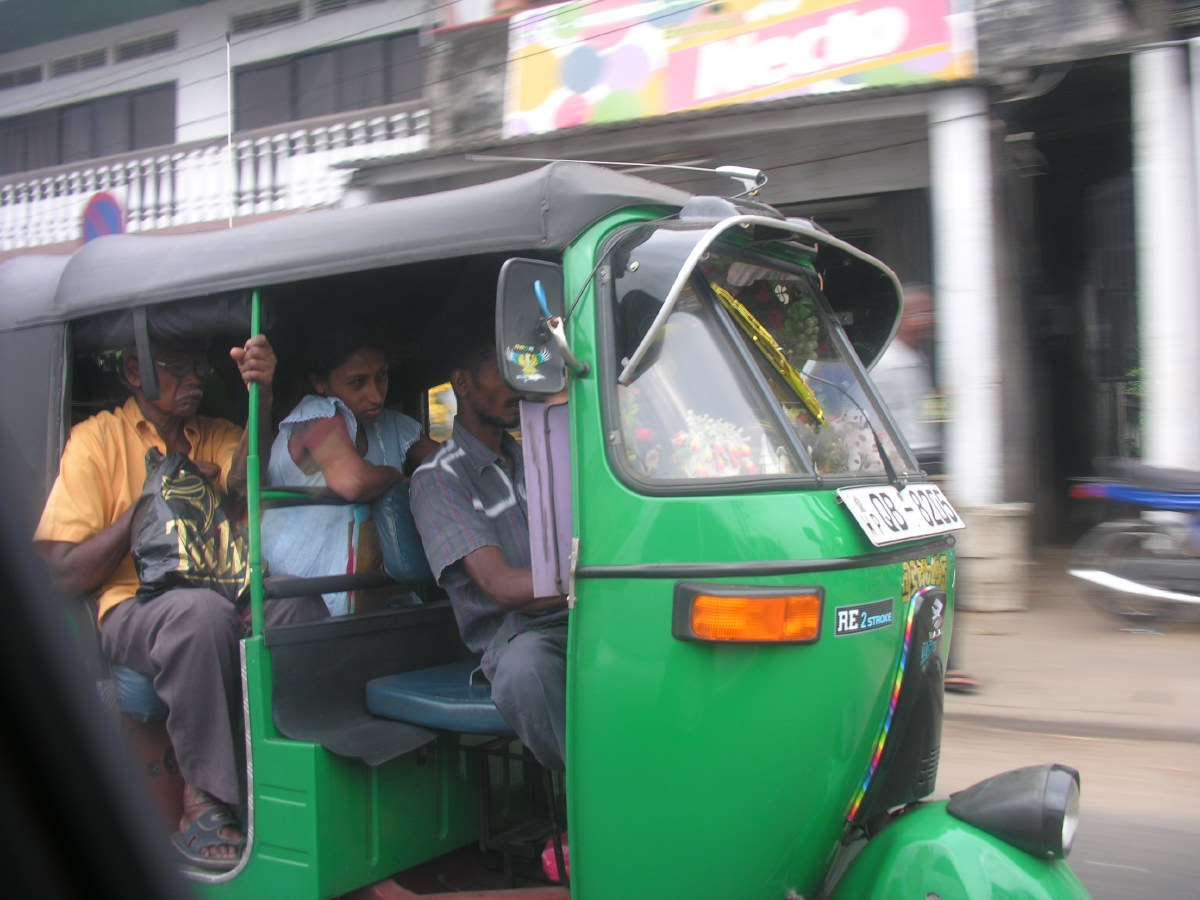 Tuk-Tuks can hold complete families since most SriLankans are not very tall.